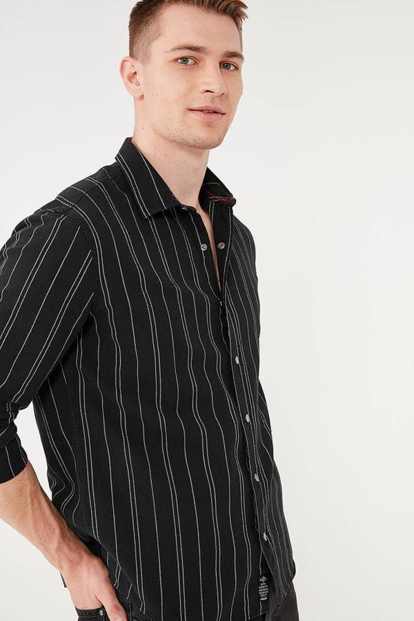 Çizgili Gömlek Siyah