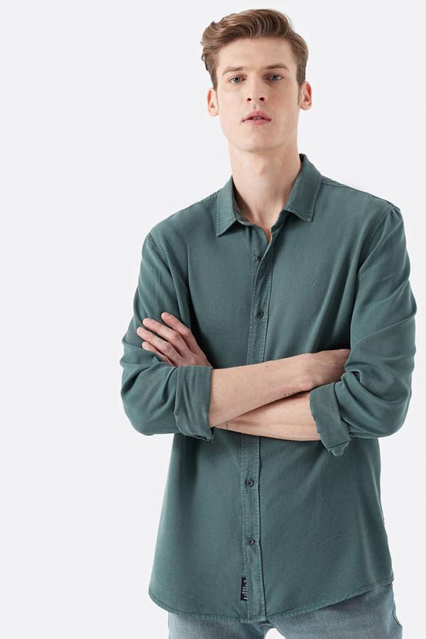 Uzun Kol Gömlek Yosun Yeşili