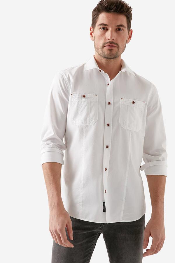 Çift Cepli Gömlek Beyaz