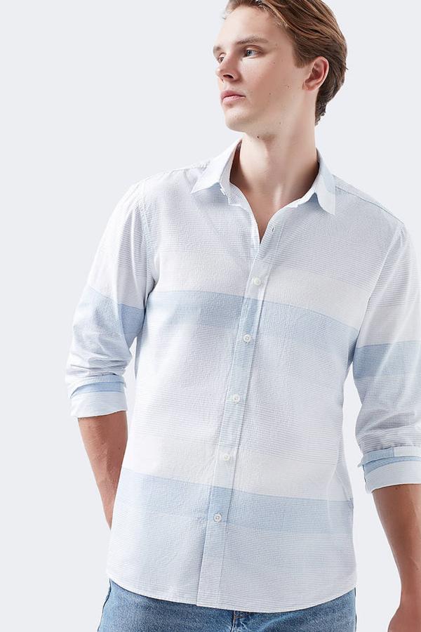 Çizgili Gömlek  Toz Mavi