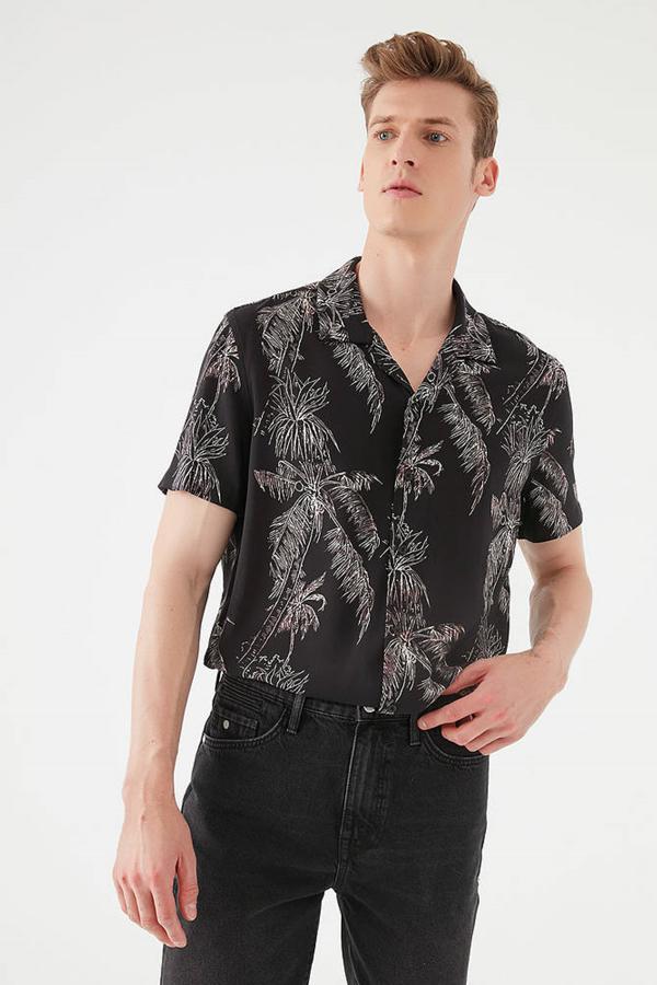 Baskılı Gömlek Siyah