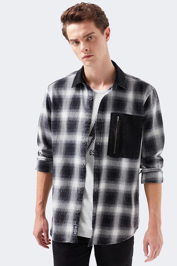 İndigo Kareli Gömlek Siyah