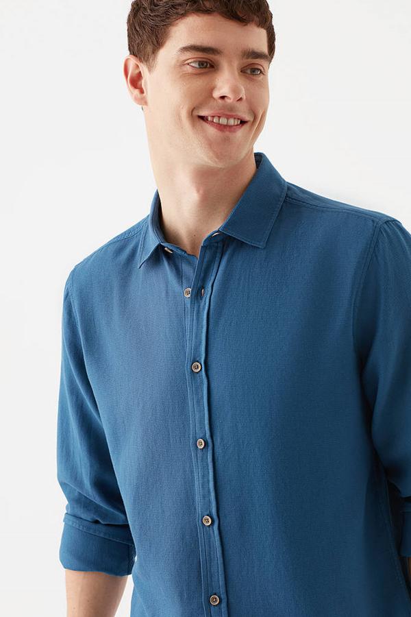 Uzun Kol Gömlek Gece Mavi