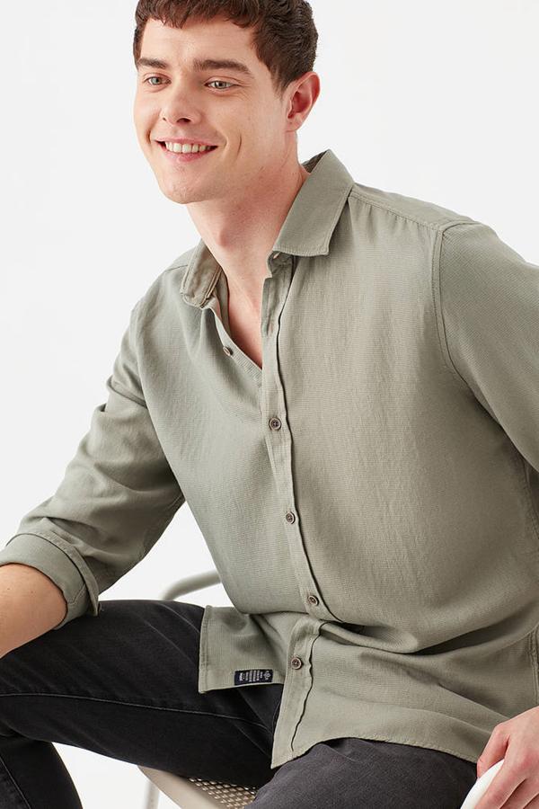 Uzun Kol Gömlek Defne Yeşili