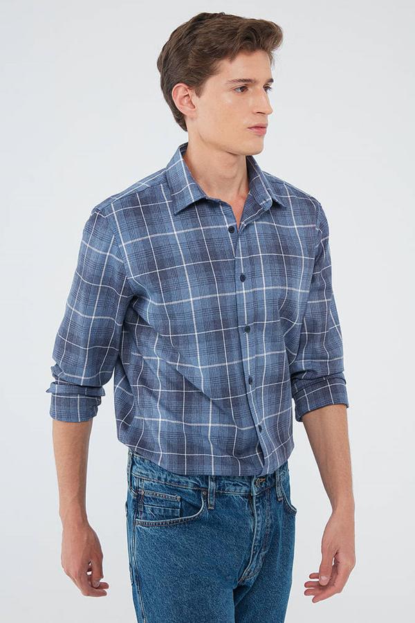 Kareli Gömlek İndigo Mavi