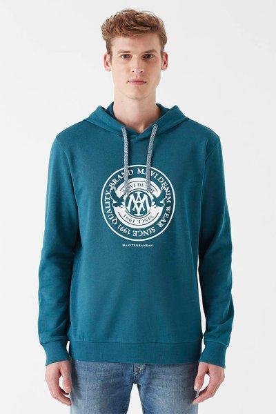 Mavi Baskılı Sweatshirt 065169-30708