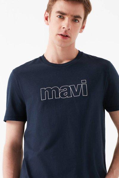 Mavi Logo Baskılı Lacivert Tişört