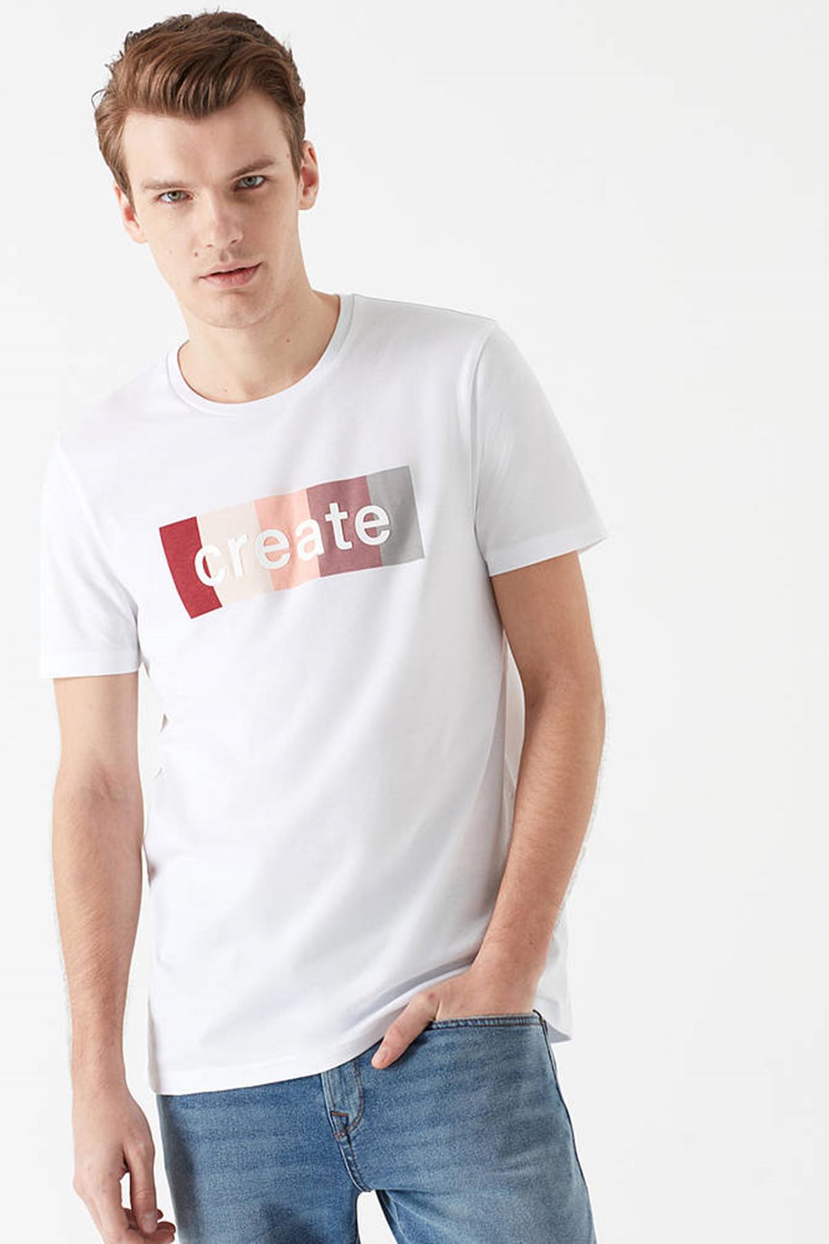 Create Baskılı Tişört Beyaz