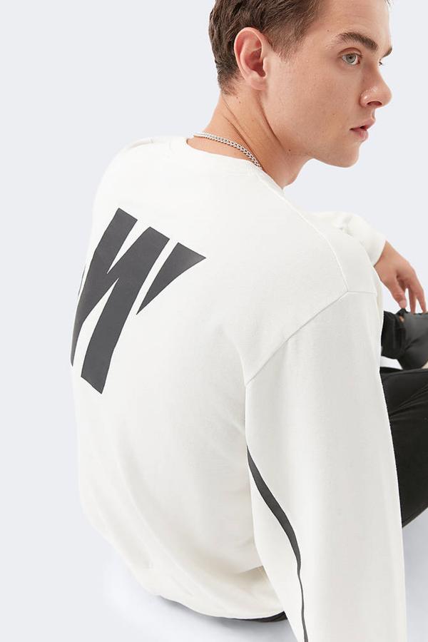 Mavi Black Baskılı Sweatshirt Kırık Beyaz