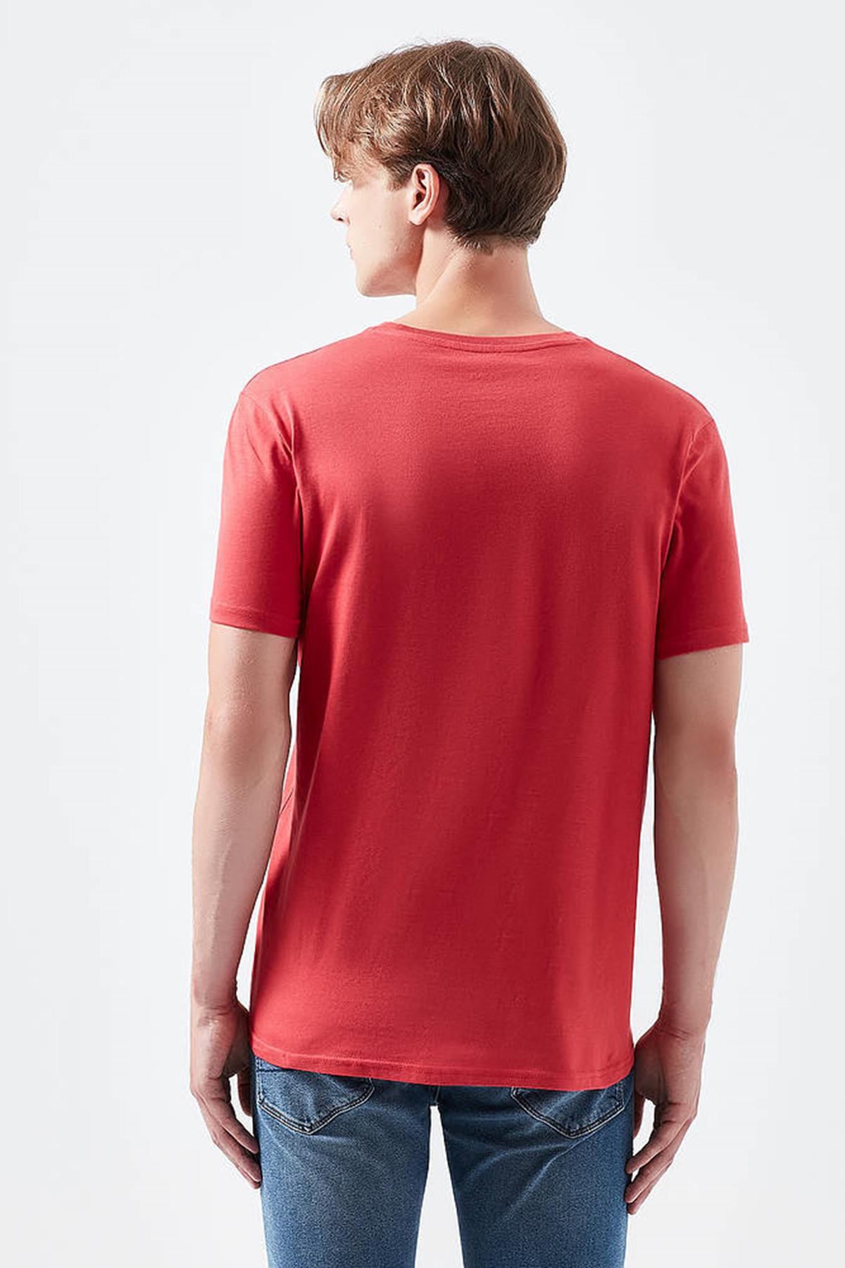 Logo Baskılı Tişört Canlı Kırmızı