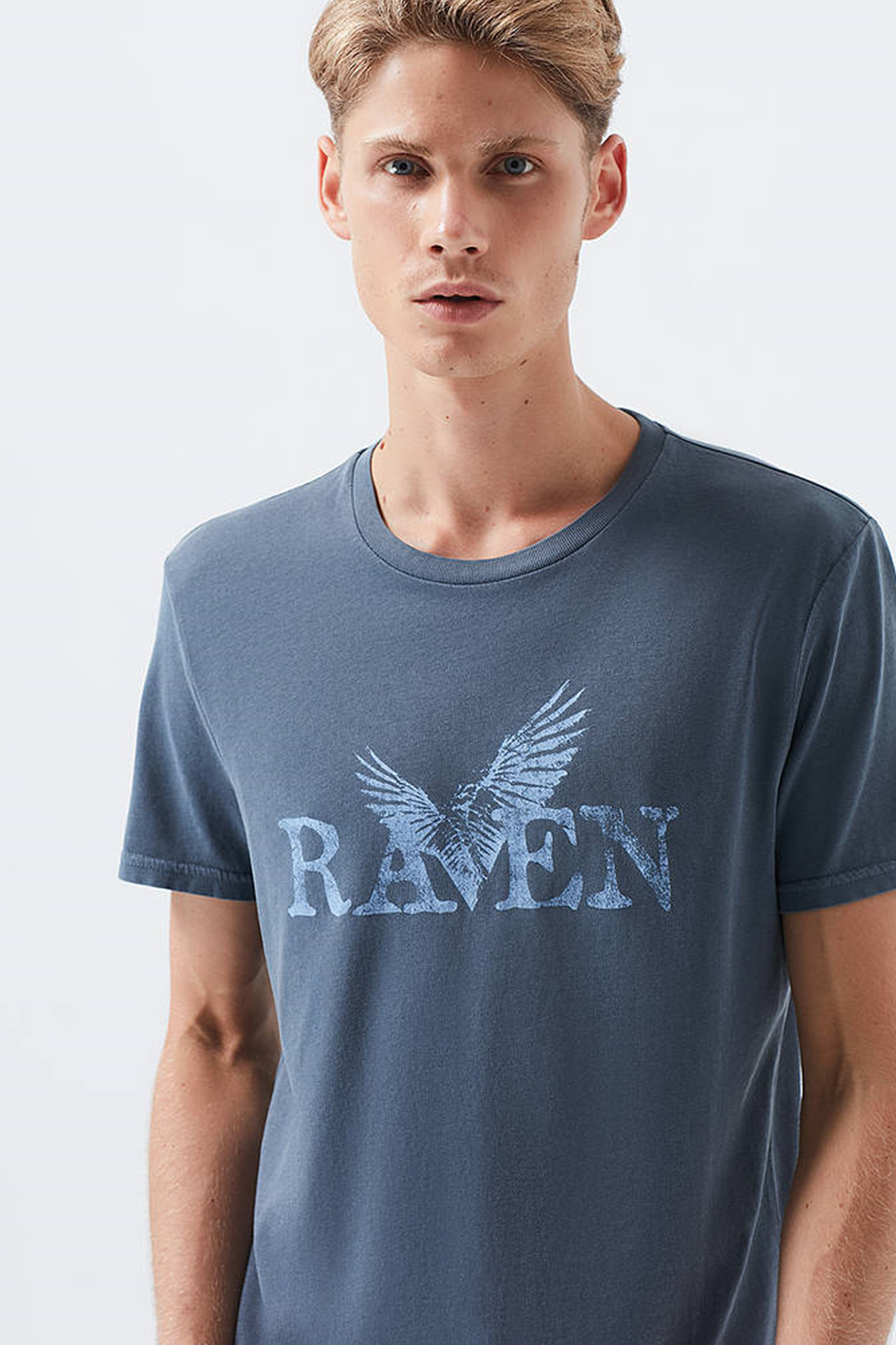 Raven Baskılı Tişört Gece Lacivert