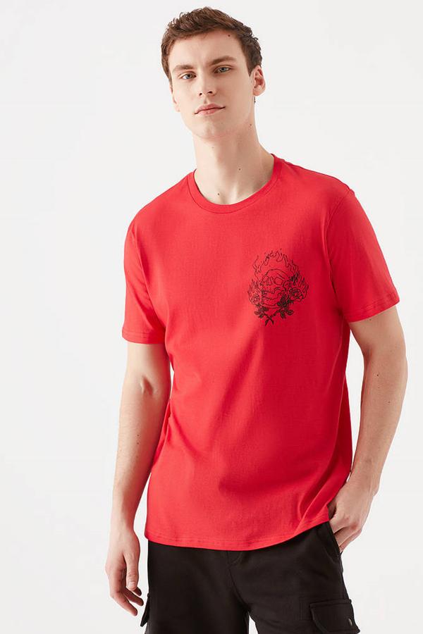 Kurukafa Baskılı Tişört Çin Kırmızısı