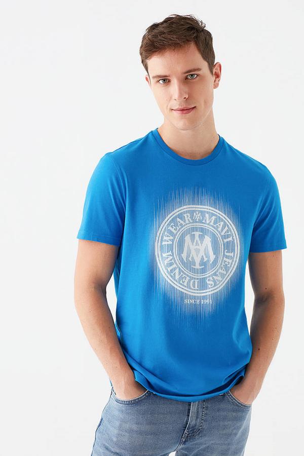 Logo Tişört Saks Mavi