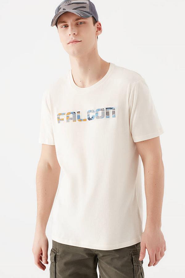 Falcon Baskılı Tişört Kırık Beyaz