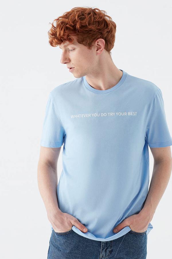 Whatever Baskılı Tişört Açık Gök Mavi