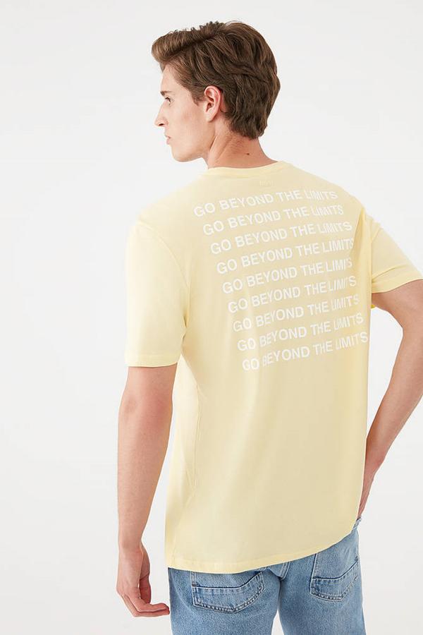 Go Baskılı Tişört Açık Sarı