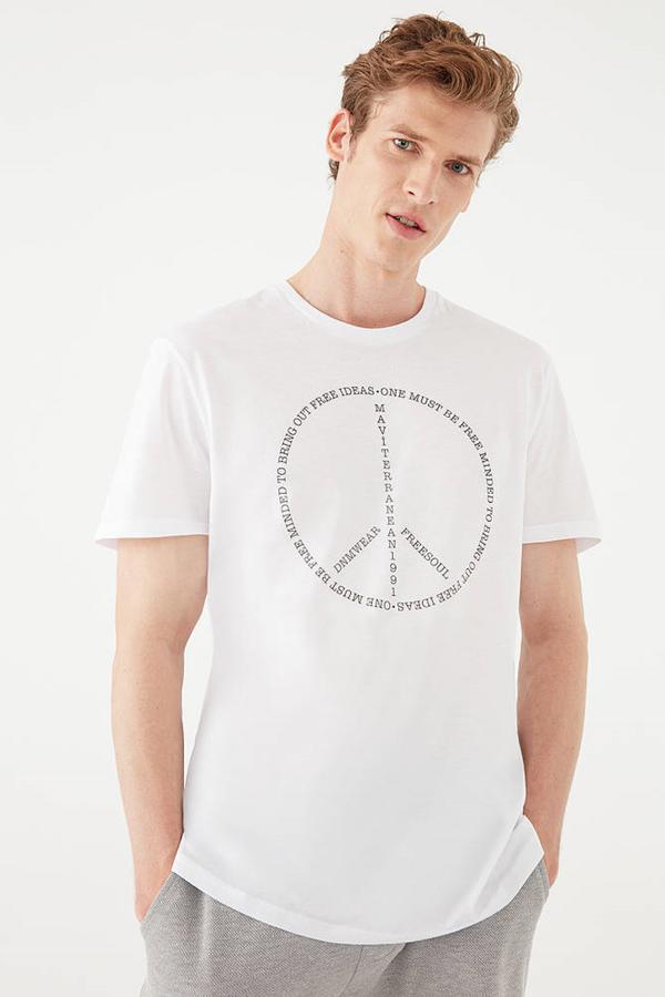 One Must Be Free Baskılı Tişört Beyaz