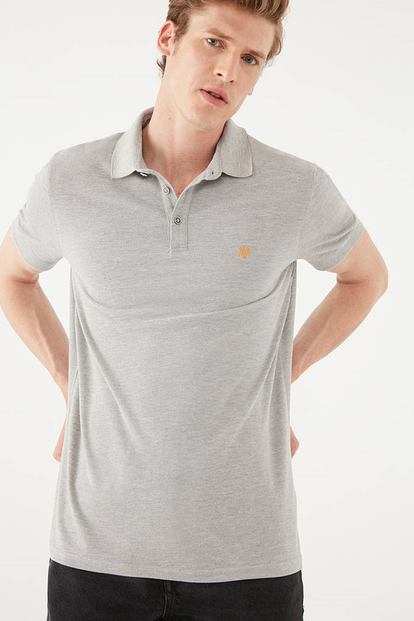 Polo Tişört Gri Melanj