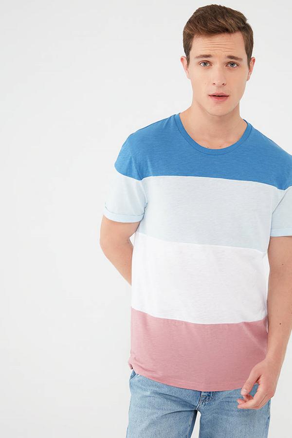Renkli Tişört Koyu Saks