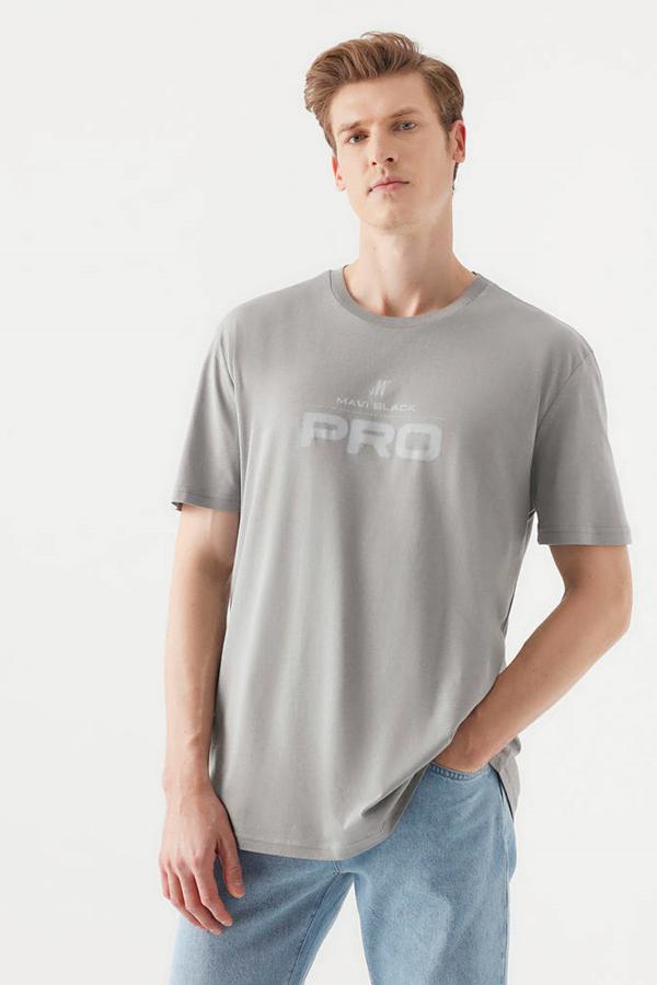 Pro Baskılı Tişört Çelik Gri