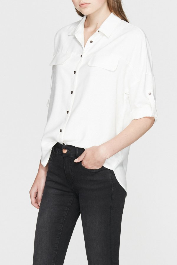 Ceplı Gömlek Kirik Beyaz