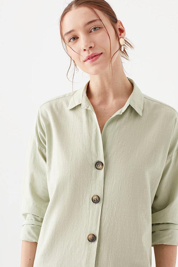 Uzun Kollu Gömlek Kül Yeşil