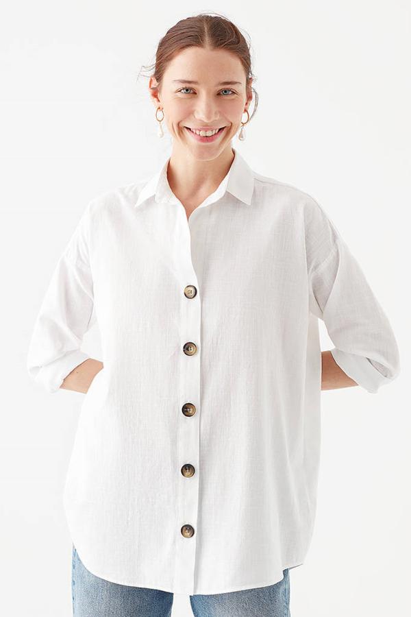 Uzun Kollu Gömlek Kırık Beyaz