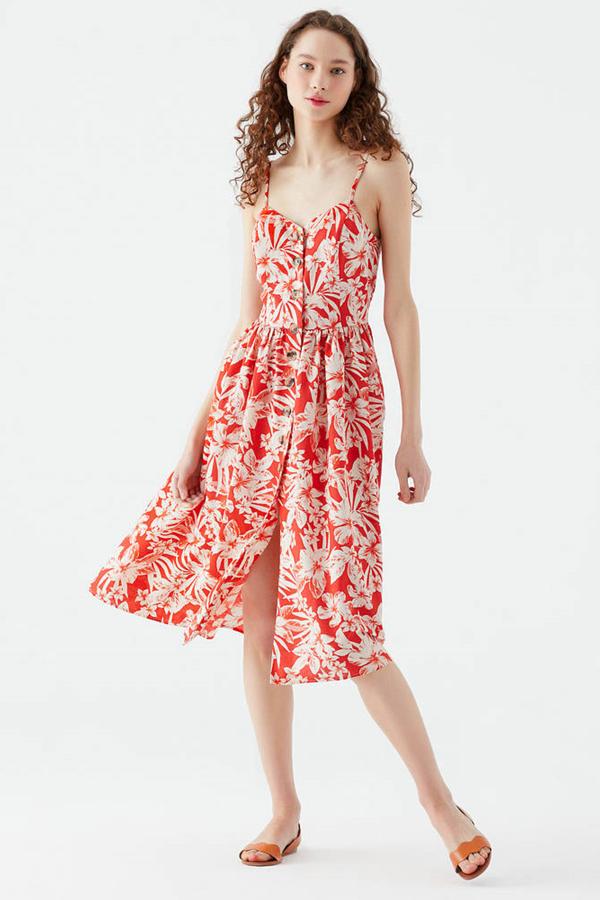 Düğmeli Elbise Kırmızı Tropik Baskılı
