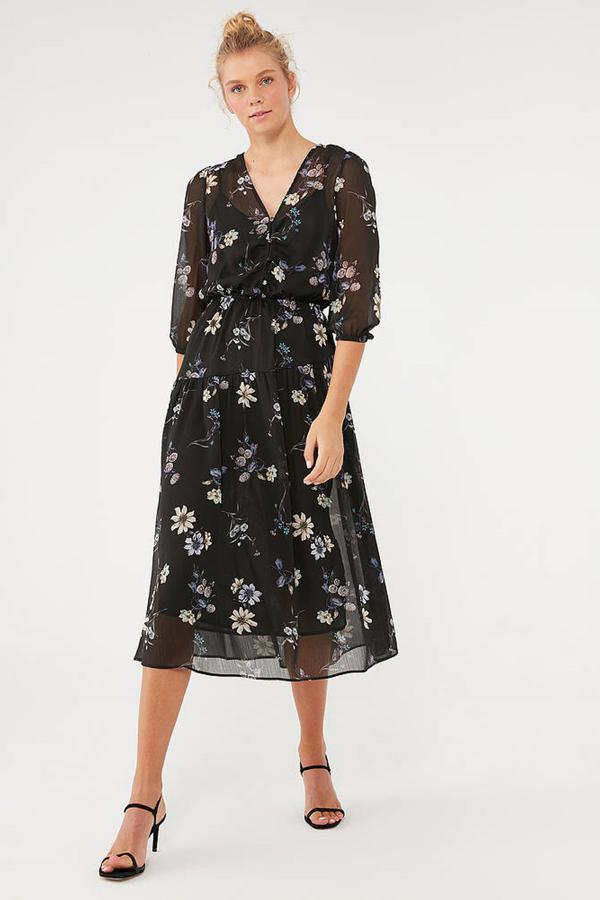 Baskılı Elbise Siyah Küçük Çiçek Baskılı
