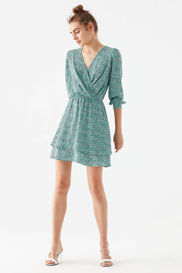 Baksılı Elbise Yeşil Minik Baskı