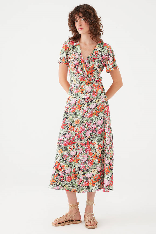 Baskılı Elbise Turuncu Çiçek Baskılı
