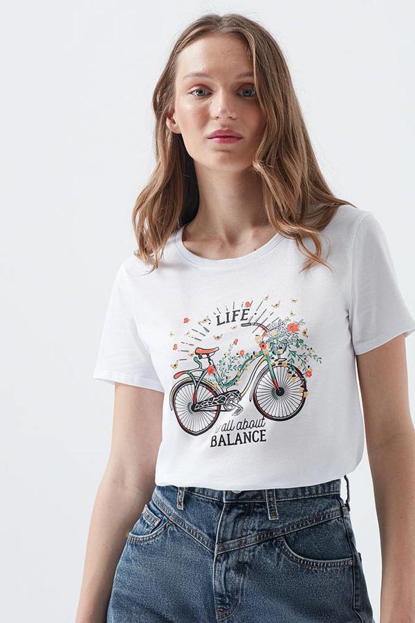 Bisiklet Baskılı Penye Beyaz