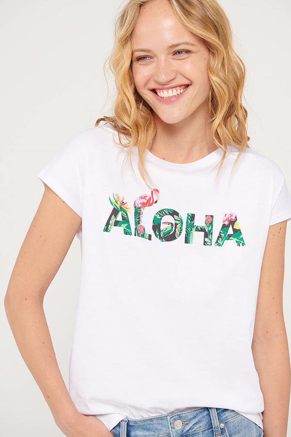 Aloha Baskılı Tişort  Beyaz