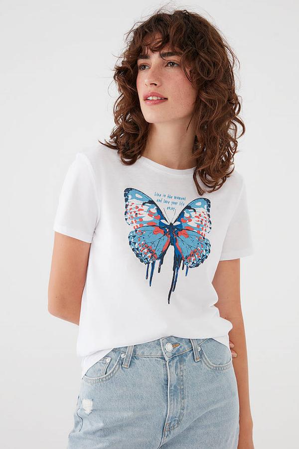 Kelebek Baskılı Tişort  Beyaz