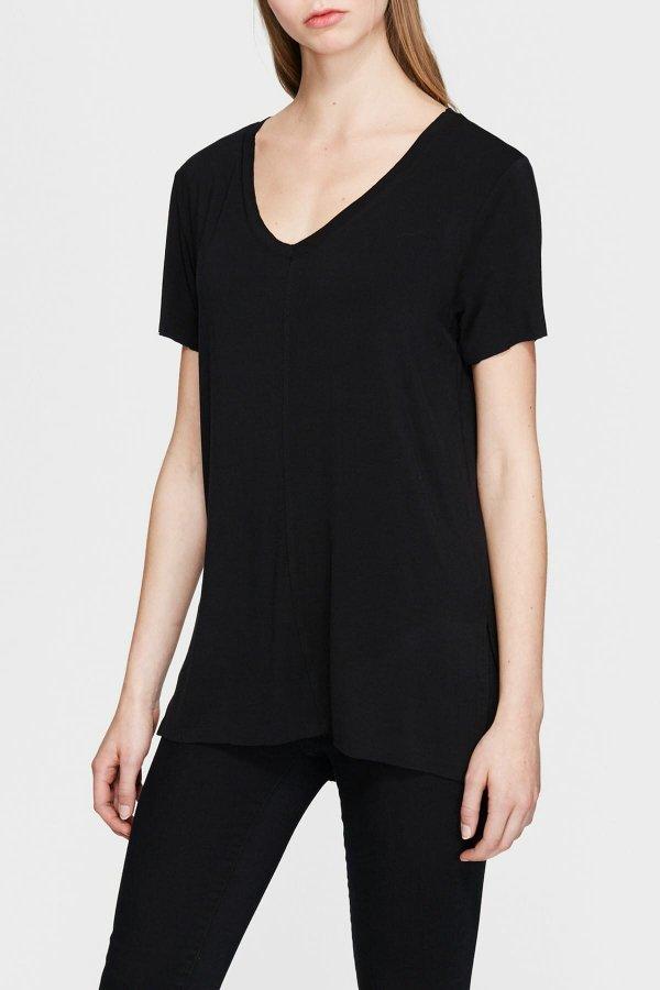 Mavi Kadın Basıc V Neck Top Siyah Tişört 166775-900