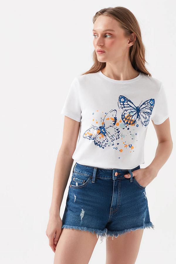 Kelebek Baskılı Penye Beyaz