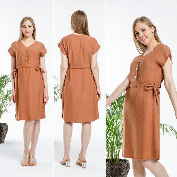 Bel Yandan Bağcıklı Keten Elbise 5547