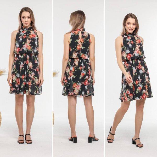 Çiçekli Şifon Elbise 5605