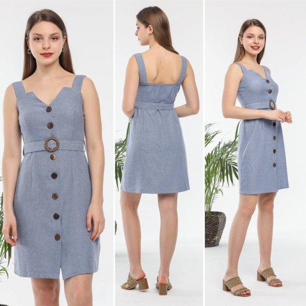 Dügmeli Kalın Askılı Elbise 5600