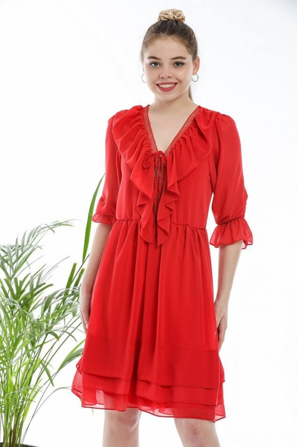 V Yaka Şifon Elbise 5631