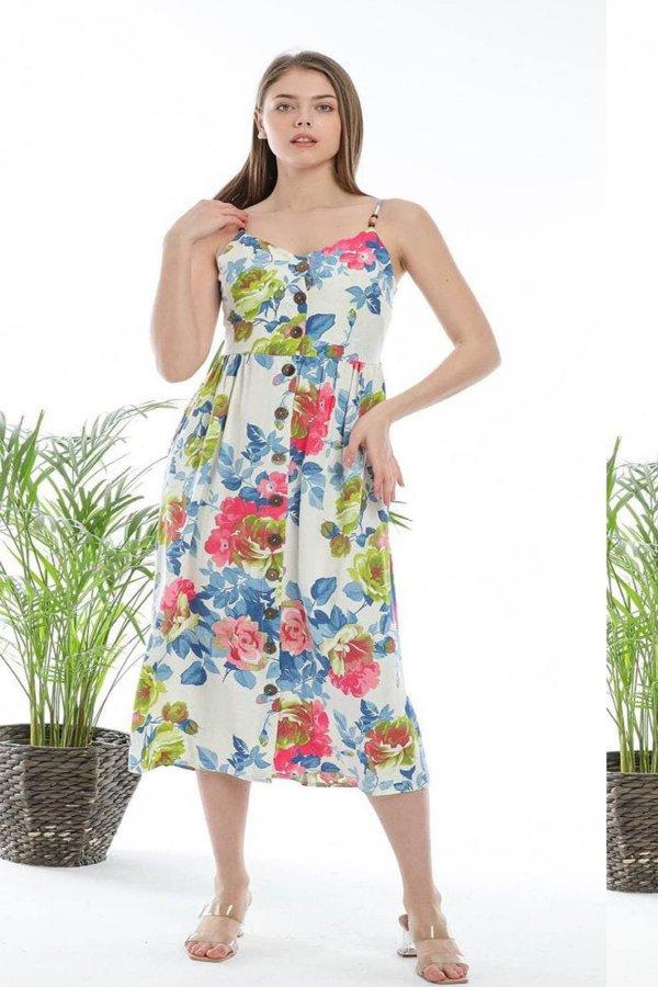 Kadın Çiçek Desenli  Elbise 5628