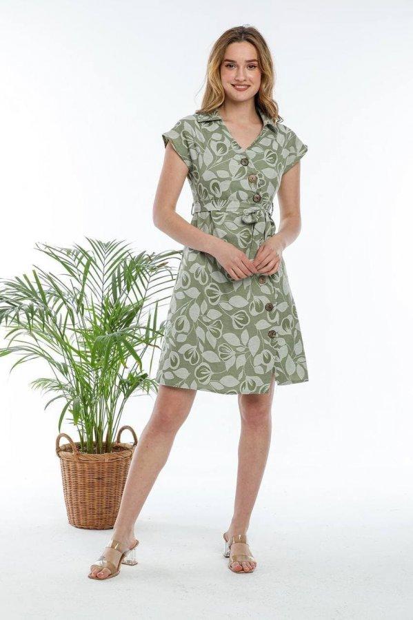 V Yaka Düğmeli Elbise 5649