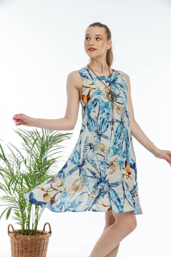 Kadın Yaprak Desenli Elbise 5627