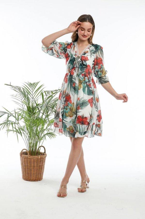 V Yaka Volanlı Çiçekli Elbise 5631-1