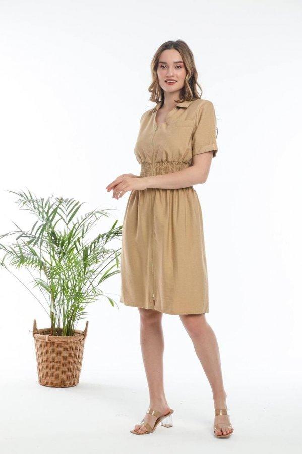 Fermuarlı Beli Lastikli Elbise 5646